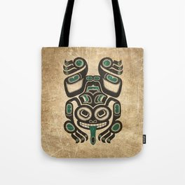 Teal Blue and Black Haida Spirit Tree Frog Tote Bag