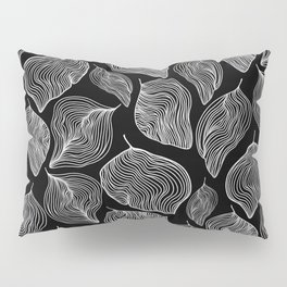Black and White Lined Leaf Pattern Pillow Sham