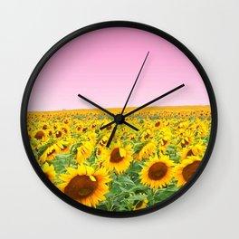 Blushing Sunflower Feilds Wall Clock