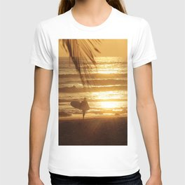 Golden Beach with Surfer (Color) T-shirt