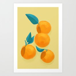 Oranges on yellow Art Print