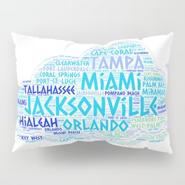 Cloud illustrated with cities of Florida State USA Pillow Sham