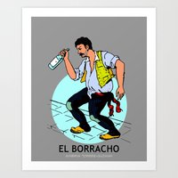 El Borracho Mexican Loteria Card Art Print