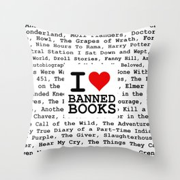I Heart Banned Books Throw Pillow