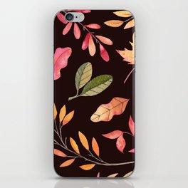 Pink orange yellow brown watercolor fall acorn leaves iPhone Skin