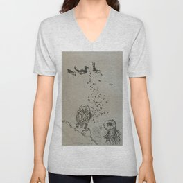 Under The Sea Green Black and White Unisex V-Neck