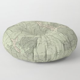 Vintage White Mountains New Hampshire Map (1915) Floor Pillow