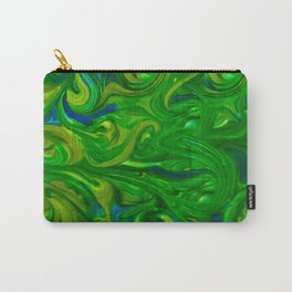 Elegant Peacock Swirls of Green Yellow Blue Carry-All Pouch