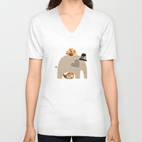 thanksgiving V-neck T-shirts featuring Happy Thanksgiving Elephant by Elephant Love