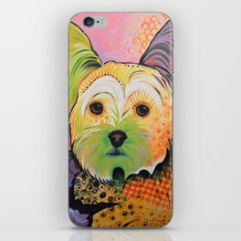 Daisy...Abstract animal pet portrait dog art, Yorkshire Terrier iPhone Skin