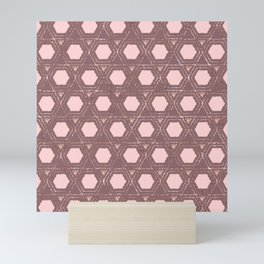 Modern Pink Purple Rose Gold Honeycomb Hexagon Mini Art Print