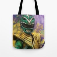 power ranger Tote Bags featuring Green Mighty Morphin Power Ranger by SachsIllustration