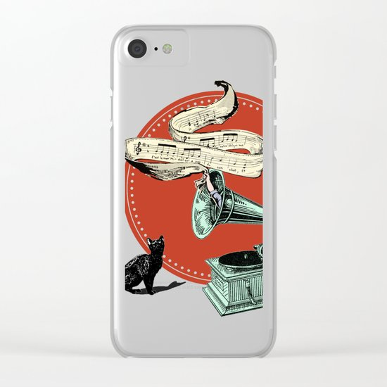 The Cat and the Cat Song (red) Clear iPhone Case