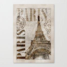 Vintage Paris eiffel tower illustration Canvas Print