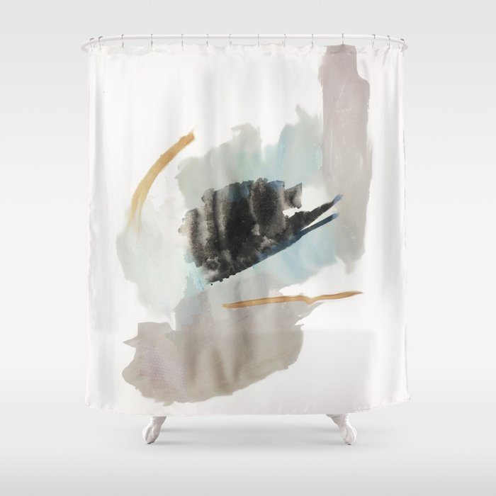 from a distance a minimal acrylic and ink abstract piece in blue black and tan shower curtain by blushingbrushstudio
