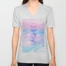 Unicorn Pastel Clouds Moon Phases #1 #decor #art #society6 Unisex V-Neck