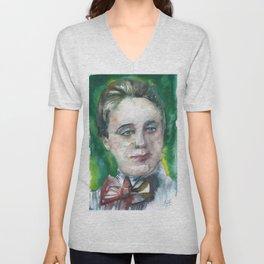 EMMY NOETHER watercolor portrait Unisex V-Neck