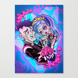 Zombie lovers sharing a brain Canvas Print