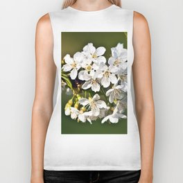 White Apple Blossoms Biker Tank