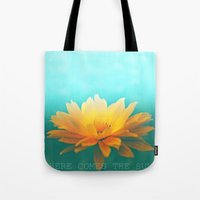 sunflower Tote Bags featuring SUNFLOWER  by Monika Strigel