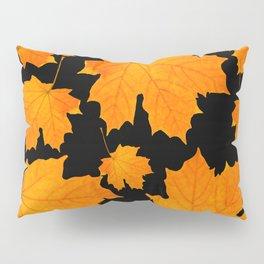 Orange Maple Leaves Black Background #decor #society6 #buyart Pillow Sham