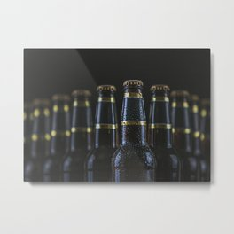 Beer Bottles On Black Metal Print
