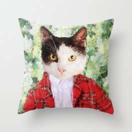 Black and white cat with red suit jacket Throw Pillow