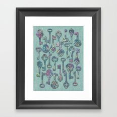 Pastel Skeleton Keys Framed Art Print