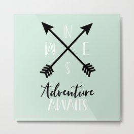 Adventure Awaits - Mint Metal Print