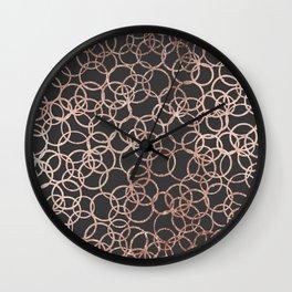 Modern Rose Gold Circles on Charcoal Black Wall Clock
