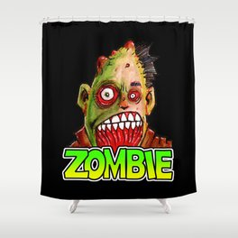 ZOMBIE title with zombie head Shower Curtain
