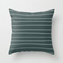 Scarborough Green PPG1145-5 Hand Drawn Horizontal Stripes on Night Watch PPG1145-7 Throw Pillow