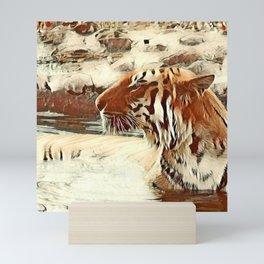 Warm colored Animal swimming tiger Mini Art Print