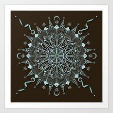 Aqua Leaf Star Mandala Art Print