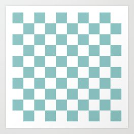 Chalky Blue Checkers Pattern Art Print