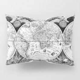 Black and White World Map (1630) Pillow Sham