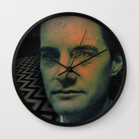dale cooper Wall Clocks featuring Special Agent Dale Cooper by András Récze