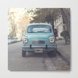 Mint - Blue Retro Fiat Car  Metal Print