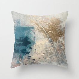 Embrace: a minimal, abstract mixed-media piece in blues and gold with a hint of pink Throw Pillow