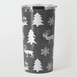 Winter Forest on Dark Linen Travel Mug