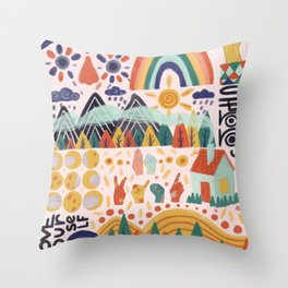 Abstract colorful pattern with rainbow, lettering. clouds, forest, mountain, house, sign language Throw Pillow
