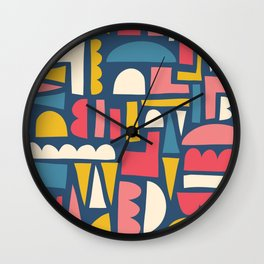 Abstract Colorful Shapes Collage Blue Pink Yellow White Wall Clock