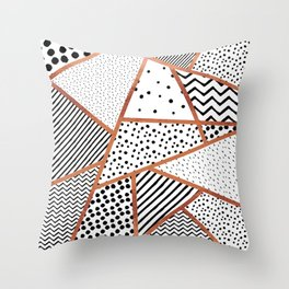 Sliced Patterns - Rose Gold Throw Pillow