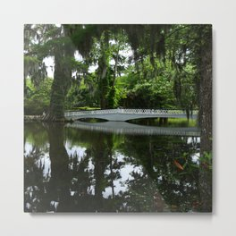 White Bridge On Magnolia Plantation Metal Print