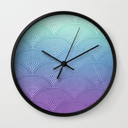 Purple & Turquoise Scallop Wall Clock