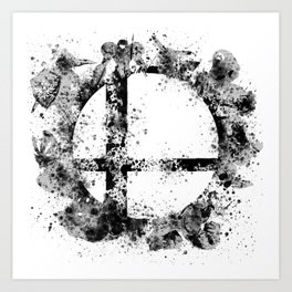 Super Smash Bros Ink Splatter Art Print