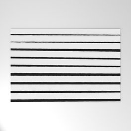 Black and White Rough Organic Stripes Welcome Mat