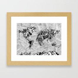 world map music black and white Framed Art Print