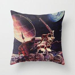 Lunokhod, USSR, 1973 — Soviet vintage space poster Throw Pillow