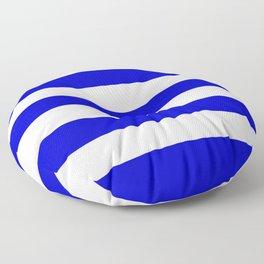 Medium blue - solid color - white stripes pattern Floor Pillow
